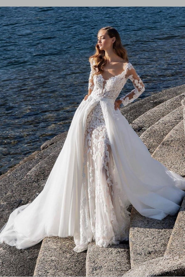 Lace Long Sleeves Sheath Wedding Gown With Detachable Train Narsbridal