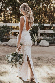 lace-pearls-wedding-dresses-with-deep-v-neckline-1
