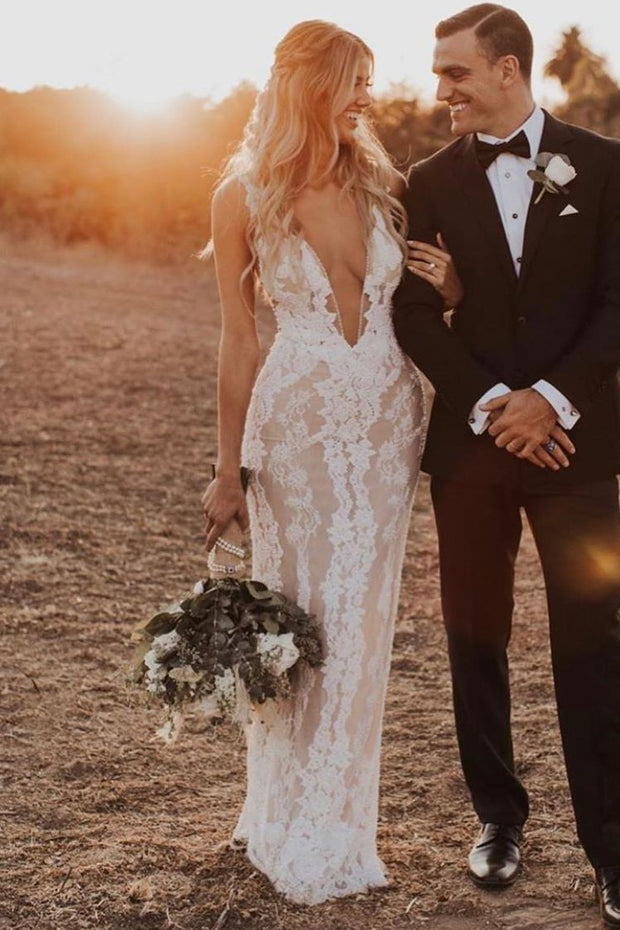lace-pearls-wedding-dresses-with-deep-v-neckline