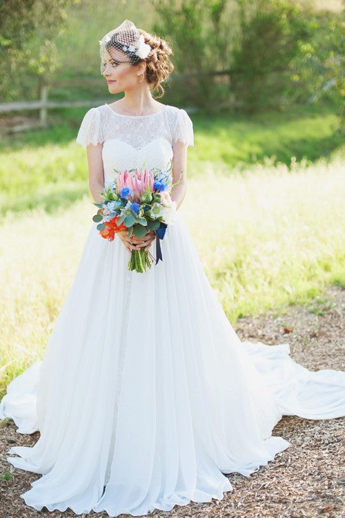 lace-short-sleeves-bride-dress-with-chiffon-skirt