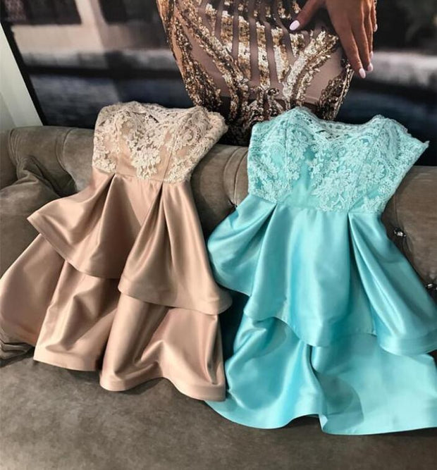lace-strapless-champagne-homecoming-dresses-with-satin-layers-skirt-1