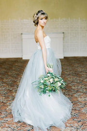 lace-strapless-wedding-gown-dusty-blue-tulle-skirt-1
