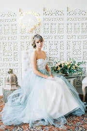 lace-strapless-wedding-gown-dusty-blue-tulle-skirt