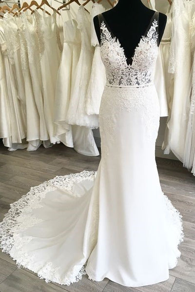 lace-v-neckline-sheath-wedding-gown-with-appliqued-trimmed-train