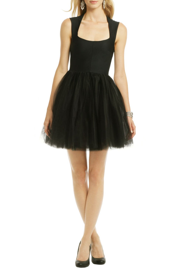 Little Black Dress Tulle Homecoming Gown with Square Neck
