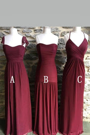 long-chiffon-burgundy-wedding-guests-dresses-mismatched-styles