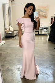 long-light-pink-bridesmaid-dresses-with-flounced-sleeves