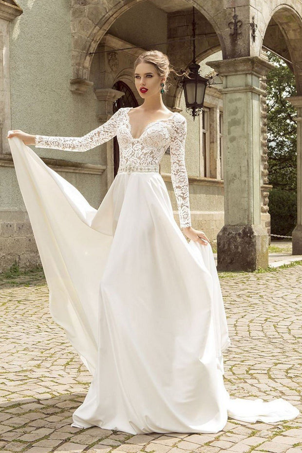 long-sleeved-beach-bridal-dresses-lace-v-neckline-bodice