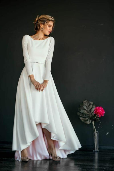 long-sleeved-high-low-wedding-gown-boat-neckline-vestido-de-novia