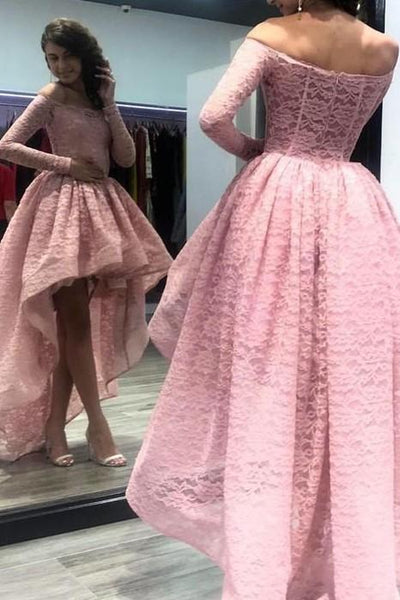 long-sleeves-pink-lace-prom-dress-with-short-front-skirt