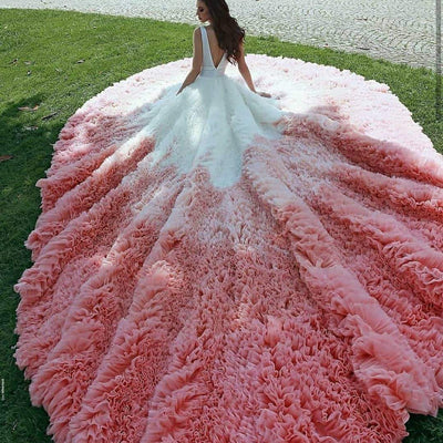 magnificent-colorful-tulle-wedding-dresses-ruffled-royal-train
