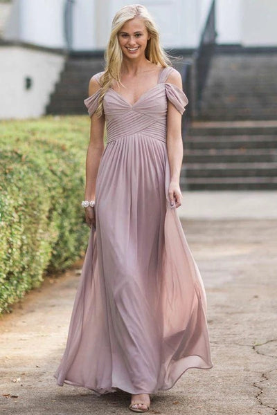mauve-chiffon-bridesmaid-dresses-with-off-the-shoulder