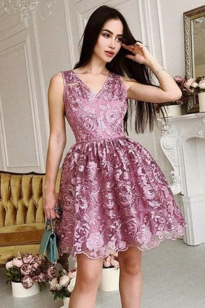 mauve-lace-short-homecoming-dresses-v-neckline-vestido-de-fiesta