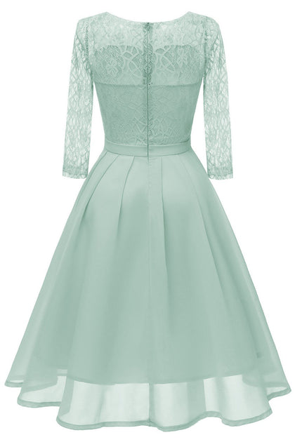 Mint Green Chiffon Lace Wedding Party Dress With Sleeves