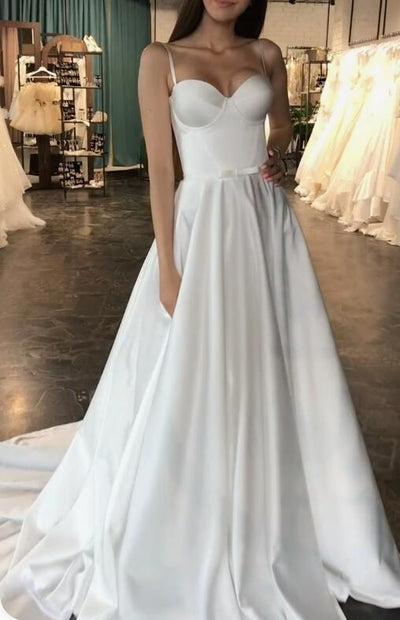 Modern A-line Simple Bridal Dress with Bow Sash