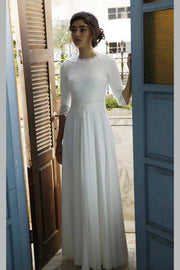 modest-chiffon-bride-dress-with-lace-sleeves