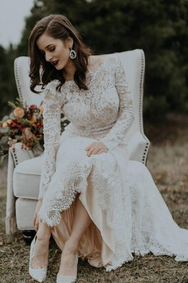 modest-sheath-wedding-dress-lace-long-sleeves-vestido-de-casamento-3