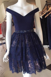 navy-blue-lace-homecoming-party-dress-short-off-the-shoulder-neckline-1