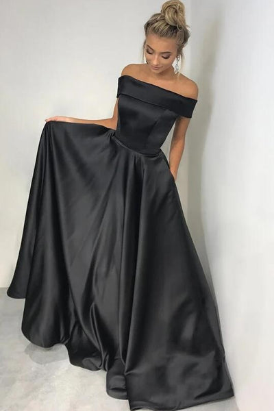 off-the-shoulder-black-satin-prom-dresses-with-pockets