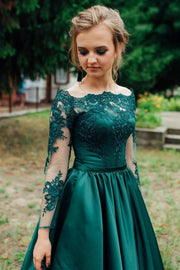 off-the-shoulder-lace-long-sleeves-evening-dress-green-satin-skirt-1