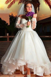 off-the-shoulder-organza-wedding-dress-with-lace-sleeves