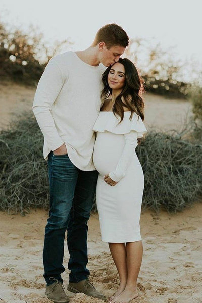 off-the-shoulder-short-maternity-dress-gown-with-flounced-long-sleeves