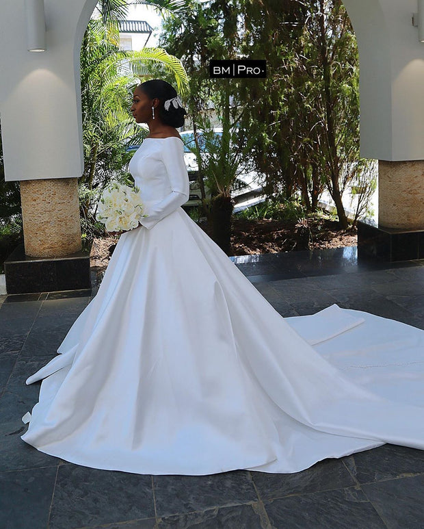off-the-shoulder-sleeves-satin-white-bridal-dress-for-nigeria-1