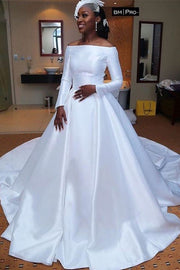 off-the-shoulder-sleeves-satin-white-bridal-dress-for-nigeria