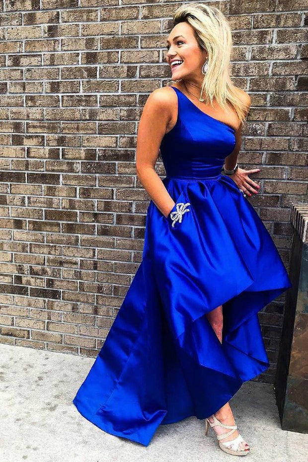 one-shoulder-royal-blue-prom-dress-satin-high-low-skirt-1