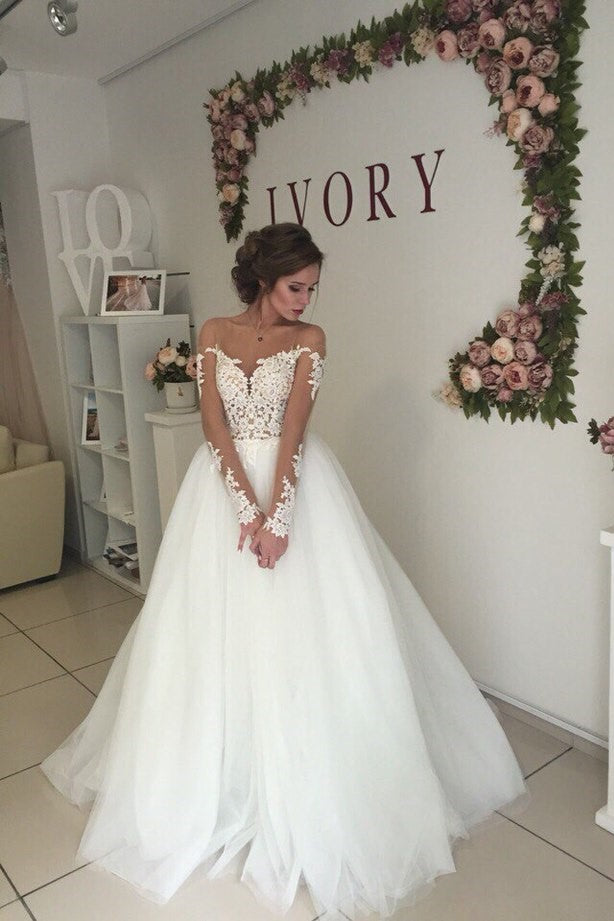 open-back-long-sleeves-wedding-dress-with-transparent-neckline