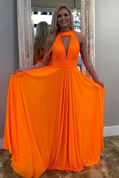 Pleated Halter Orange Prom Dresses Long Chiffon Skirt