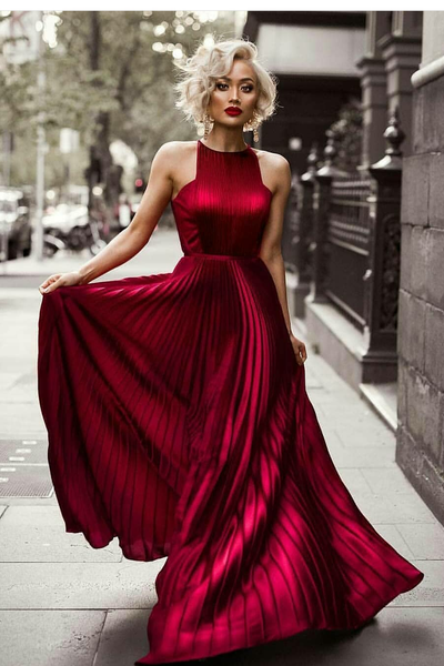 pleated-long-burgundy-evening-dress-with-high-neckline