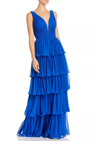 pleated-tier-royal-blue-prom-gown-with-plunging-neckline