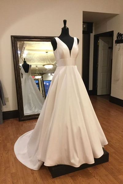 plunging-a-line-satin-wedding-gown-with-small-train