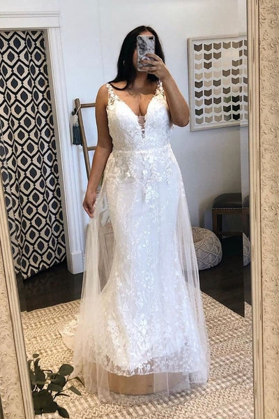 plunging-lace-plus-size-wedding-dresses-for-women
