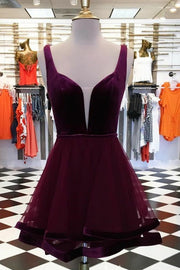 plunging-velvet-homecoming-dress-with-tulle-skirt-vestido-de-coctail