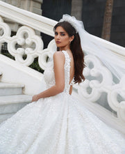 princess-lace-floral-wedding-dresses-with-v-neckline-1