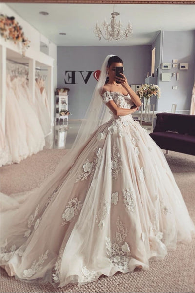 Princess Lace Flowers Wedding Dress with Off-the-shoulder