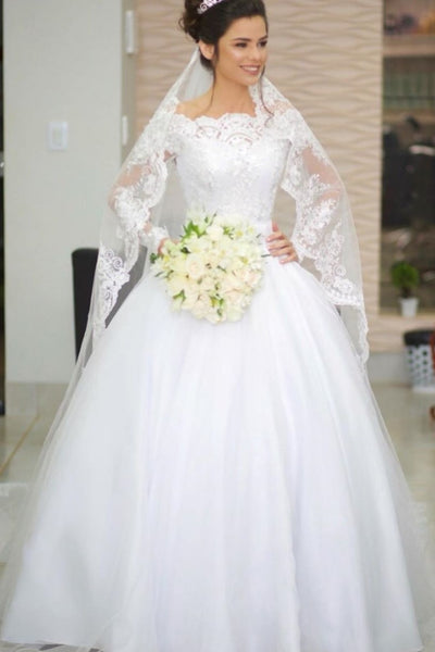 princess-long-sleeve-wedding-gowns-lace-off-the-shoulder