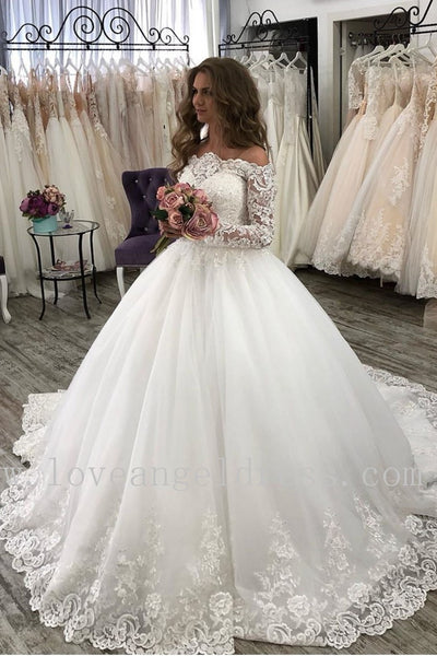 princess-off-the-shoulder-wedding-dresses-ivory-lace-long-sleeves