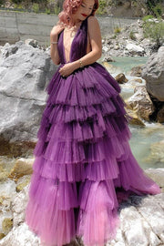 purple-tiered-tulle-skirt-prom-dresses-deep-v-neckline