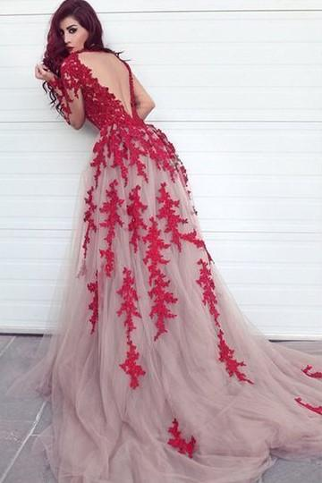 red-appliques-lace-tulle-evening-dresses-long-sleeves-1