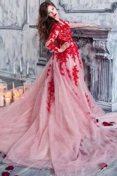 red-appliques-lace-tulle-evening-dresses-long-sleeves
