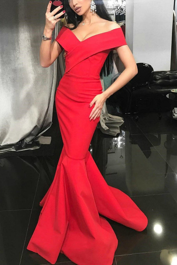red-satin-mermaid-evening-dress-off-the-shoulder