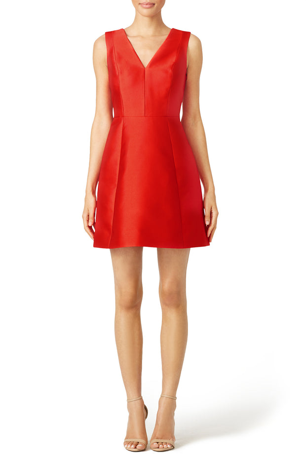 red-satin-mini-cocktail-party-gown-with-v-neckline