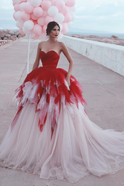 red&ivory-tulle-ball-gown-wedding-dresses-backless-vestido-de-noiva