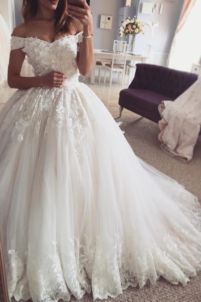 romantic-lace-flowers-bridal-dress-gown-with-off-the-shoulder