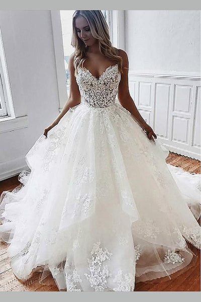 romantic-lace&tulle-ball-gown-dress-for-wedding-vestido-de-novia