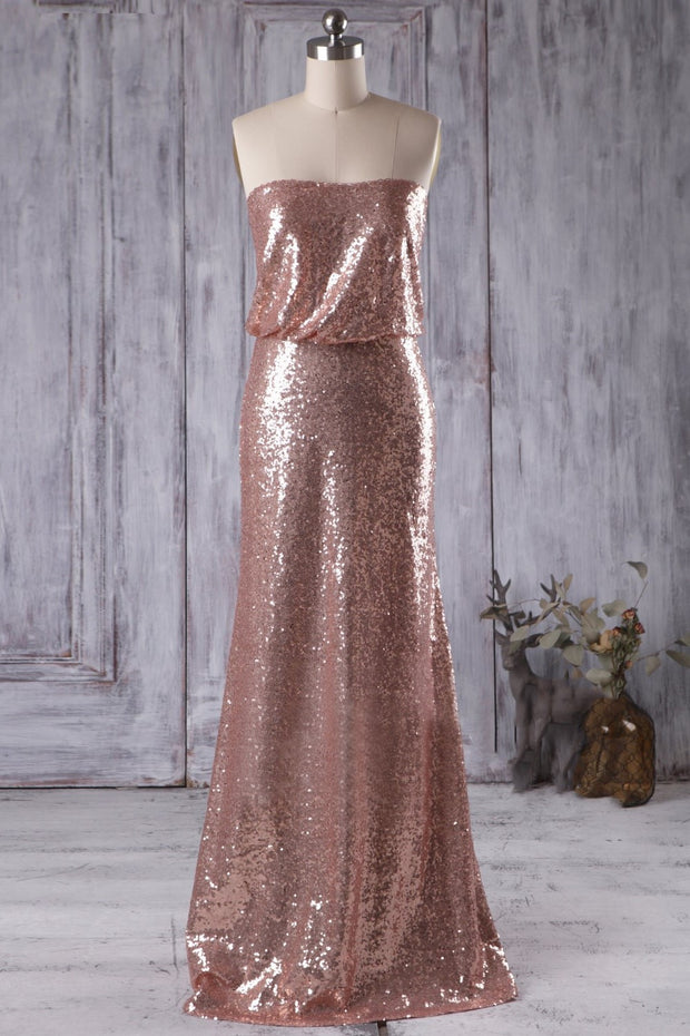 rose-gold-sequins-bridesmaid-dresses-with-strapless-bodice