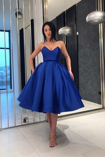 royal-blue-short-prom-dress-plunging-neckline-ball-gown
